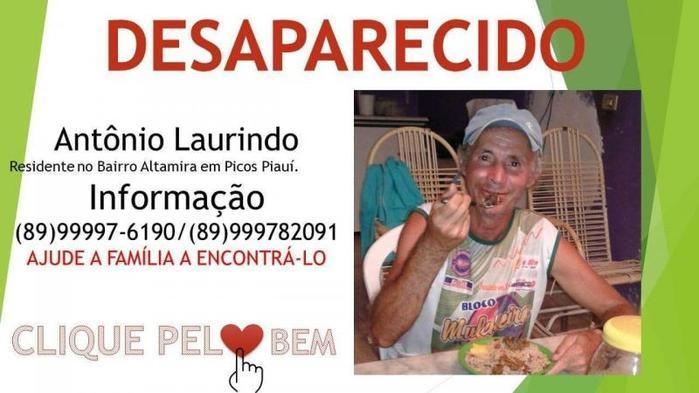Campanha realizada pelos familiares nas redes sociais para tentar encontrar Antônio Laurindo.