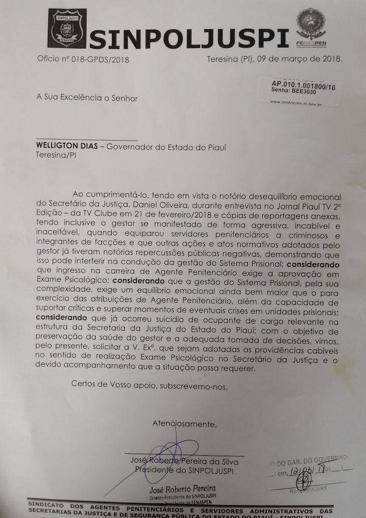 Documento enviado por José Roberto ao gabinete do governador do Piauí.