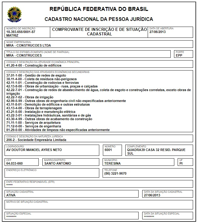 CNPJ da construtora MRA Construções.