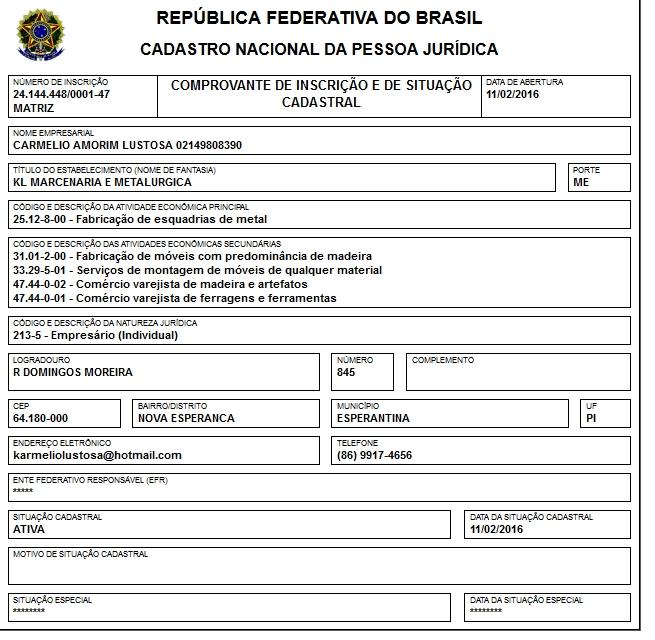 CNPJ da empresa Carmelio Amorim Lustosa.