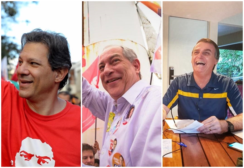 Fernando Haddad, Ciro Gomes e Bolsonaro.