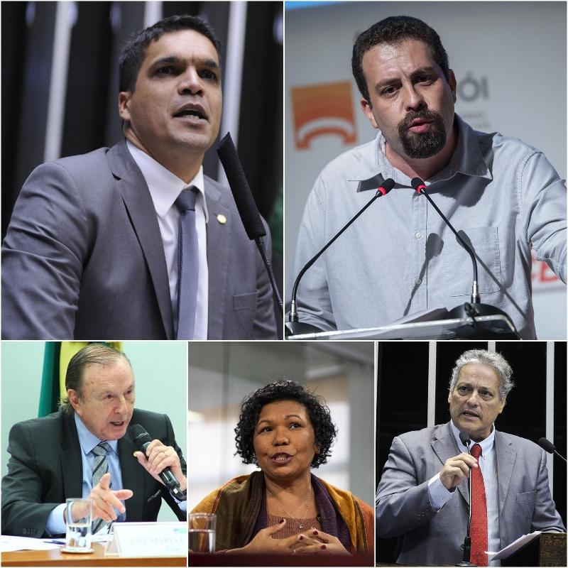 Cabo Daciolo, Guilherme Boulos, José Maria Eymael, Vera Lúcia e João Goulart Filho.