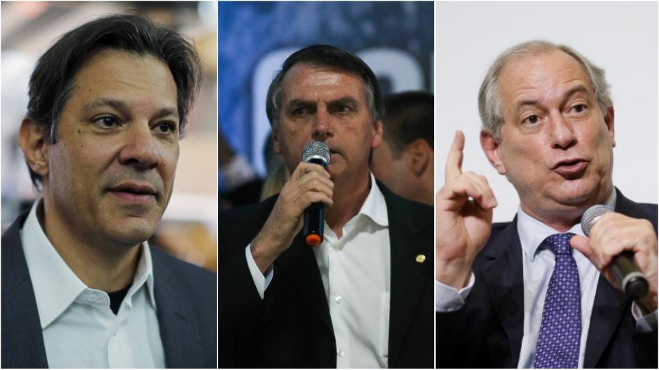 Fernando Haddad, Jair Bolsonaro e Ciro Gomes.
