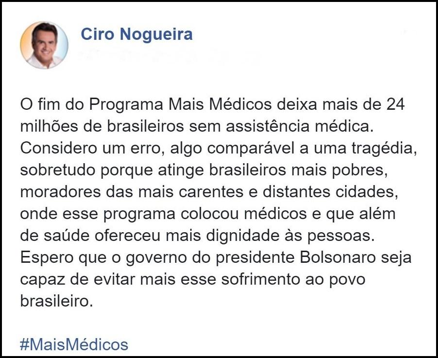Publicação do senador Ciro Nogueira
