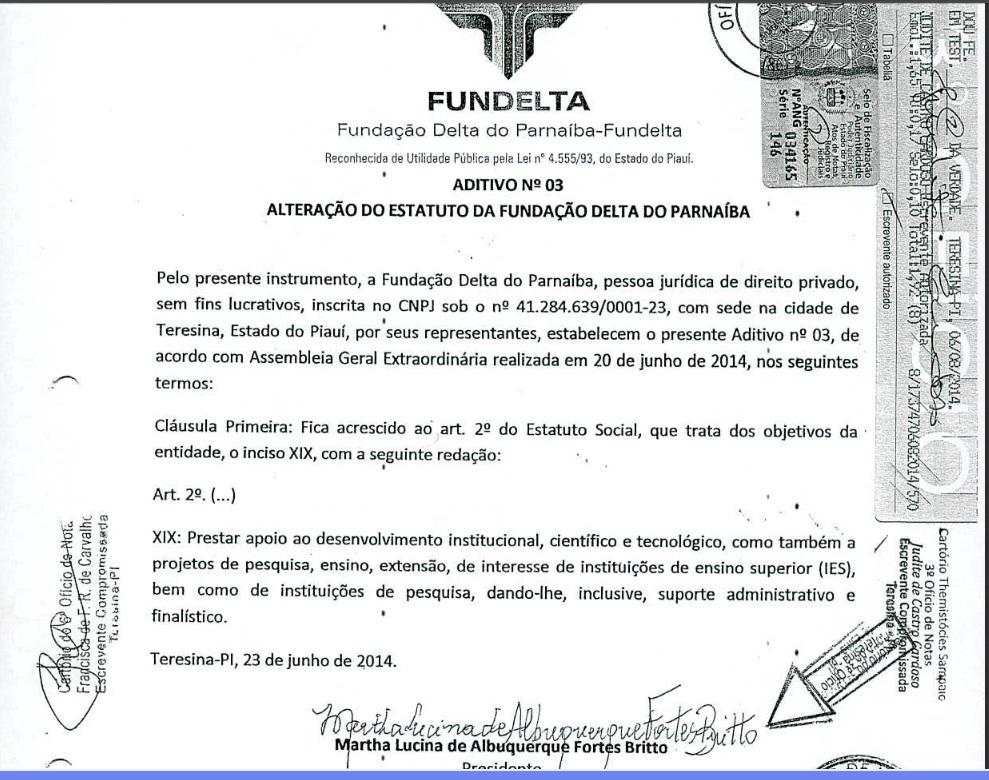 Alteração do Estatuto Social da Fundelta, autorizada em 23 de julho de 2014.