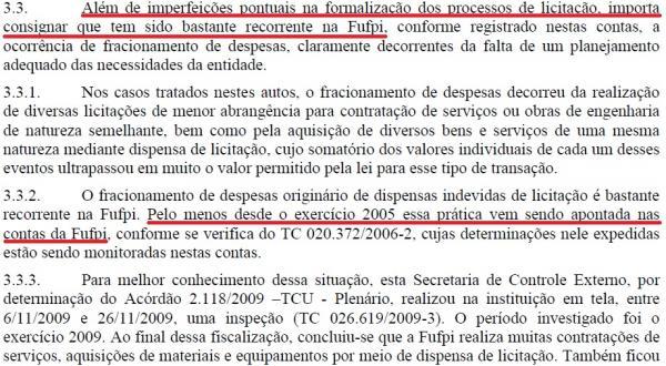 Documento aponta irregularidades recorrentes nas licitações da UFPI desde 2005(Imagem:Reprodução)