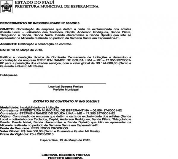 Extrato de contrato.(Imagem:Genevaldo Silva)