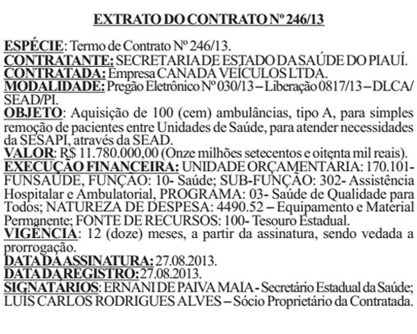 Extrato do contrato.(Imagem:Reprodução/Viagora)