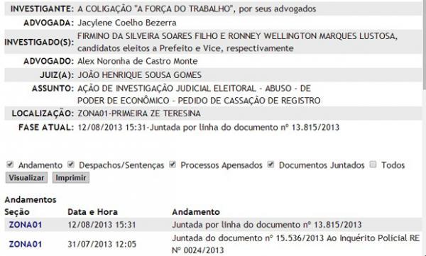 Processo contra firmino parado na 1ª Zona Eleitoral.(Imagem:Reprodução/Viagora)