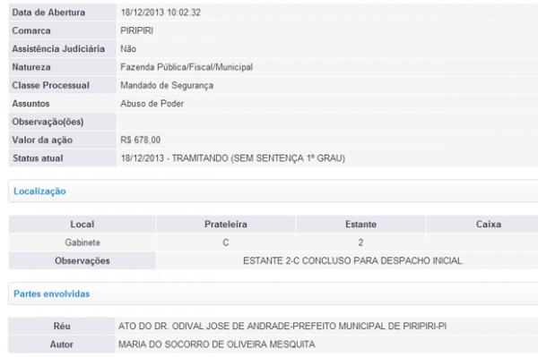 Vice processa prefeito de Piripiri Odival Andrade por abuso de poder(Imagem:Reprodução/Viagora)